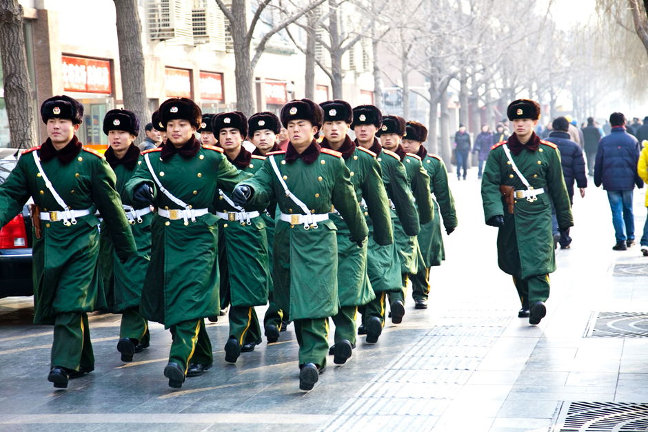 PLA guard is rotating - around Tian'an men Square, Central Beijing
